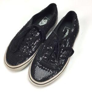 Vans Black Sequins Low Lace Up Shoes SIZE 6